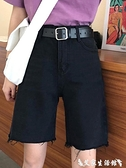 牛仔五分褲 網紅高腰闊腿中褲薄款黑色牛仔短褲女夏季直筒寬鬆ins潮五分褲子 【618 購物】