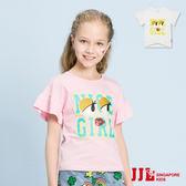 JJLKIDS 女童 俏麗睫毛眼睛英字荷葉袖上衣(2色)