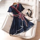 洋裝-短袖青春洋溢撞色V領綁帶連身裙73sz13[時尚巴黎]