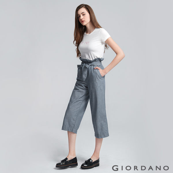 【GIORDANO】女裝高腰綁帶花苞九分寬版牛仔褲-02 中藍條紋