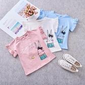 夏季新款韓版女童休閑卡通皇冠字母T恤兔子花邊短袖T恤