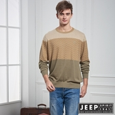 【JEEP】漸層修身長袖針織衫 (卡其色)