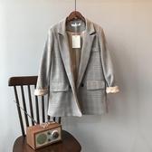 2020韓版復古格子西裝外套女寬鬆休閒西服上衣