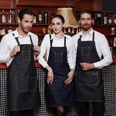 店慶優惠-圍裙時尚牛仔圍裙西餐廳服務員咖啡店男女工作服圍裙韓版
