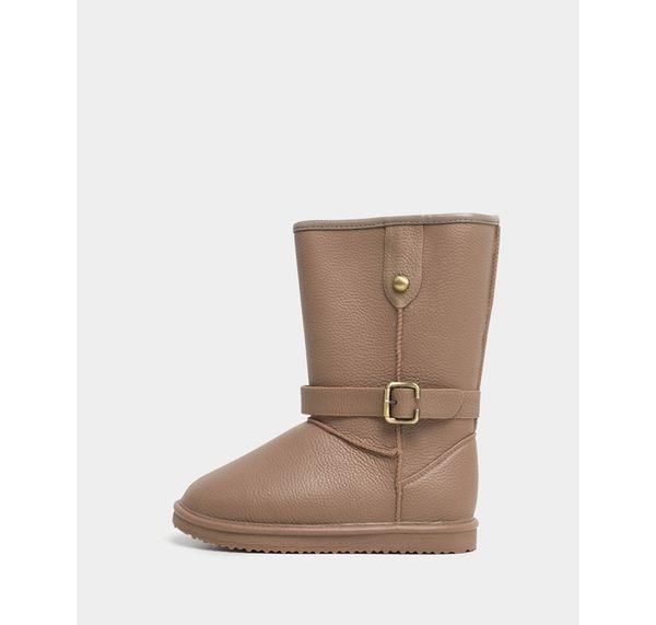 雨鞋雨靴-R&BB可愛平底低筒100%防水推薦 荔枝紋皮感短靴雪靴-卡其