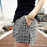 夏季高腰格子短褲女褲夏天休閒褲薄款顯瘦寬鬆大碼闊腿女士熱褲子 阿卡娜