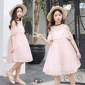 女童公主裙短袖露肩夏季中大童時尚蕾絲花邊網紗連身裙小女孩裙子 依夏嚴選