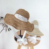 遮陽帽  可折疊草編帽子綁大檐帽蕾絲系帶草帽防曬沙灘帽