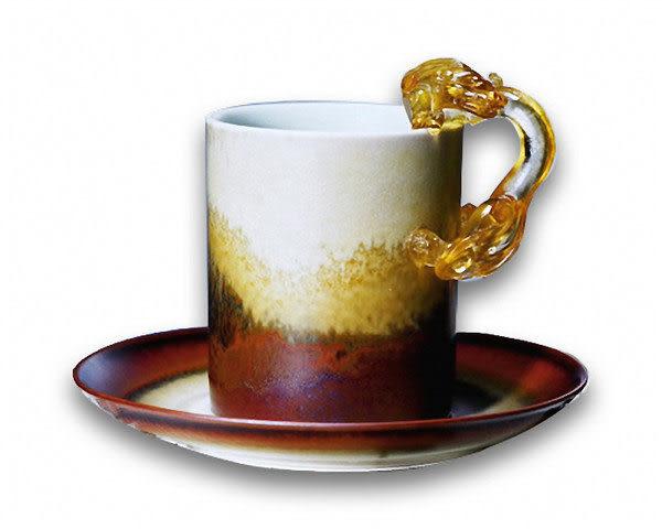 鹿港窯~ 陶瓷琉璃耳馬克杯系列【咖啡山水回首螭馬克杯】附精美包裝◆免運費送到家