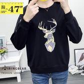長袖上衣--簡約率性幾何鹿印圖羅紋圓領顯瘦袖線縮口下襬上衣(黑L-3L)-F124眼圈熊中大尺碼◎