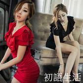性感洋裝新款夏裝夜店女裝V領性感大碼顯瘦包臀修身紅色洋裝短裙子  初語生活