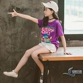 童裝女童短袖T夏季兒童純棉卡通T恤打底衫中大童上衣【邻家小鎮】
