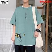 短袖T恤男潮牌潮流ins夏季大碼胖子男裝字母印花半袖衣服寬松