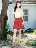 春裝上市[H2O]大口袋前開襟設計A字短裙(內裏褲裡) - 紅/深藍/淺藍色 #0682007