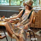吊帶睡裙 夏季純棉薄款性感帶胸墊夏天睡衣孕婦大碼連身裙 zh5133【原創風館】