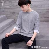七分袖T恤 男士短袖T恤韓版7分半袖上衣服潮個性日繫學生七分袖 全網最低價最後兩天