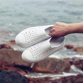 個性小白鞋女情侶沙灘鞋防滑防水透氣洞洞鞋