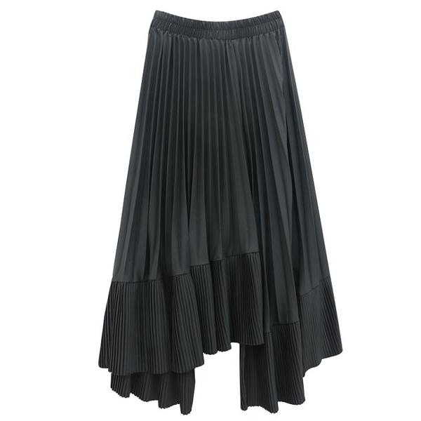 不規則百褶裙松緊半身裙