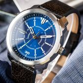 DIESEL 懷舊皮革藍面腕錶 DZ1787 熱賣中!