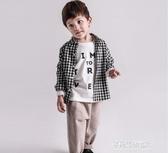 男童長袖上衣-男童襯衫春秋薄款純棉嬰兒長袖兒童上衣女童秋裝男寶寶格子襯衣潮 多麗絲