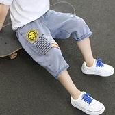 男童牛仔褲 大男童褲子五七分褲夏季薄款中褲牛仔短褲兒童裝2021夏裝新款潮牌【快速出貨】