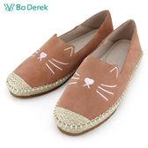 ★新品上市★【Bo Derek】貓咪刺繡編織後踩休閒鞋-粉
