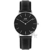 【台南 時代鐘錶 Daniel Wellington】DW00100145 經典真皮時尚手錶-銀框X黑帶/36mm