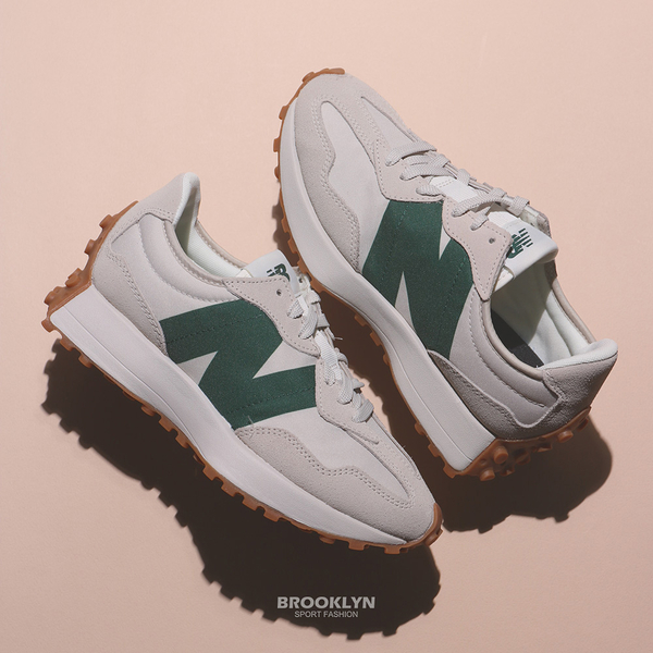 NEW BALANCE 休閒鞋 NB 327 米白灰 綠 情侶鞋 男女 (布魯克林) MS327HR1