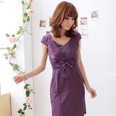 洋裝--隆重感輕透氣質-緞面大V領蝴蝶結收腰曲線洋裝(黑.粉.紫S-2L)-D96眼圈熊中大尺碼