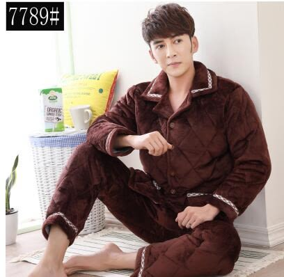 熊孩子ஐ冬季中年男士珊瑚絨夾棉加厚睡衣中老年加絨超厚法蘭絨家居服套裝 (7789)