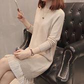 毛衣裙洋裝秋冬新款中長款半高領長袖毛衣裙套頭加厚保暖針織衫女裝韓版   color shop