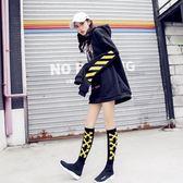 及膝襪中筒襪女韓國學院風日系運動襪黑色