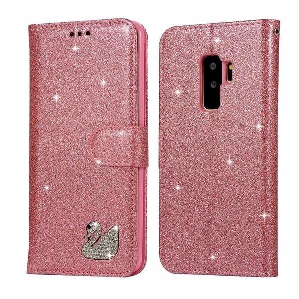 三星  S9 plus 手機殼 奢華 閃粉 水鑽 天鵝 保護套 翻蓋 支架 磁扣 皮套 可插卡 全包 軟殼 保護殼