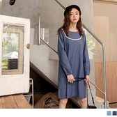 《DA8045-》寬鬆圓領蕾絲鬆緊長袖短洋裝 OB嚴選