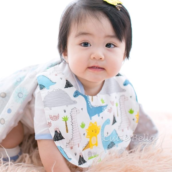 Cutie Bella印花布 純棉 防水圍兜/口水巾-Cream-Dinosaur 恐龍