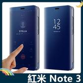 Xiaomi 小米 紅米機 Note 3 電鍍半透保護套 鏡面側翻皮套 免翻蓋接聽 原裝同款 支架 手機套 手機殼