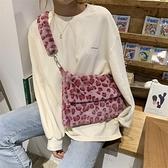 斜背包 2021秋冬新款毛毛托特包柔軟舒適書包粉色豹紋翻蓋單肩斜跨大包女 歐歐
