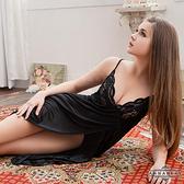 【中大尺碼】優雅黑蕾絲側開襟柔緞睡衣 星光密碼 B002