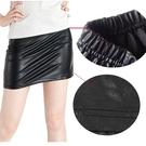 仿皮短裙 棉質包臀短裙 韓版 性感窄 版素色小迷你裙 台灣現貨