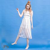 【2%】2% 細肩帶條紋仙女洋裝  好康熱賣