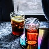 玻璃杯帶蓋帶吸管 創意水杯家用女喝水杯子大容量飲料果汁奶茶杯
