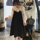 套裝連身裙女娃娃領網紗襯衫 吊帶裙小清新兩件套【時尚大衣櫥】