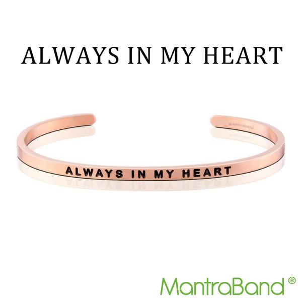 Mantraband   ALWAYS IN MY HEART 永遠在心中 - 悄悄話玫瑰金手環 台灣官方總代理