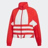 ADIDAS LARGE LOGO TRACK 女裝 外套 立領 風衣 休閒 短版 防風 復古 紅 白【運動世界】FM2585