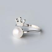 戒指 925純銀 珍珠-鑲鑽奢華生日情人節禮物女開口戒73dt197[時尚巴黎]