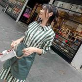 長袖套裝 春季網紅顯瘦條紋襯衫連衣裙兩件套裝_現貨+預購【韓國服飾】☆Mandy國際時尚☆