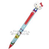 〔小禮堂〕Hello Kitty 日製搖搖頭造型自動鉛筆《藍紅.飛機.房子》0.5mm筆芯 4991863-46424