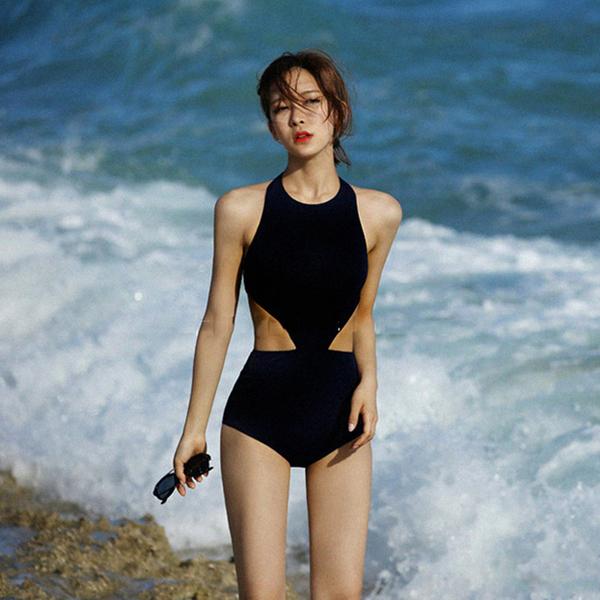 泳衣 網紅款削肩性感三角露背連身比基尼泳衣【O3458】☆雙兒網☆