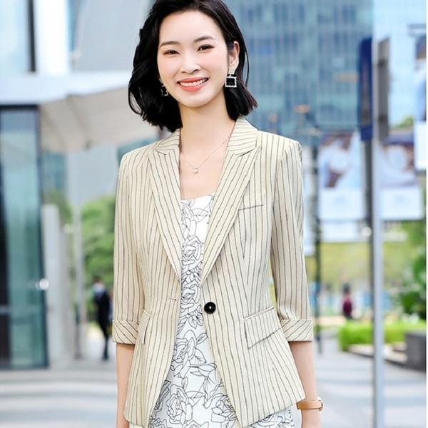 馬卡龍色條紋春夏搭配外套[21X053-PF]美之札