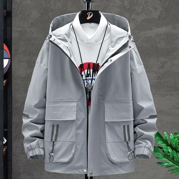 男外套工裝寬鬆韓版外套 秋季休閒日系夾克外套 時尚男生外套 男士外套簡約 潮流外套潮牌外衣